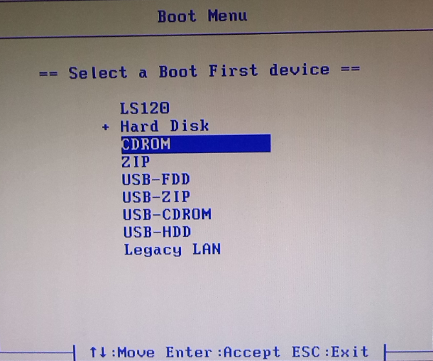 select a first boot device
