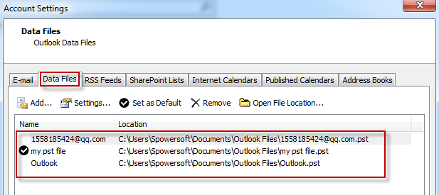 Ubicaciones de archivos PST