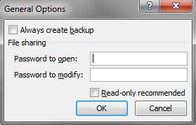 Set Open password and Modify password