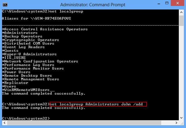 Run command to add to admin group