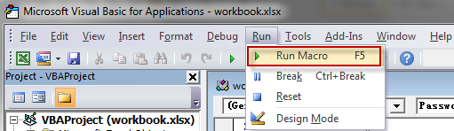 Run VBA codes
