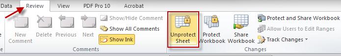 Unprotect Sheet button