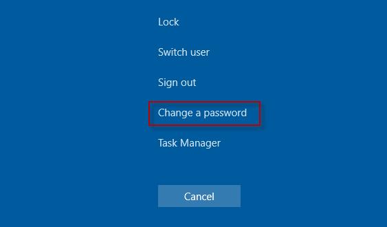 Click Change a password