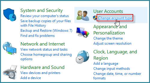 Click Change account type