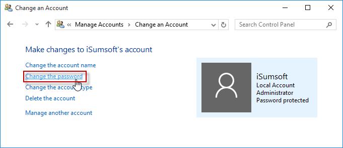 Click Change the password link