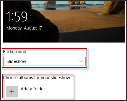 Choose Slideshow as background