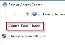 Control Panel Home