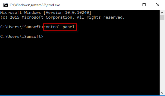 Run control panel in cmd.exe