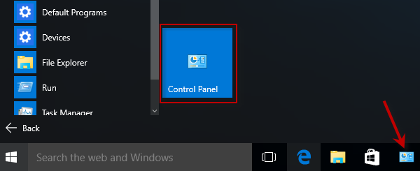 Control Panel shows in Start and Taskbar