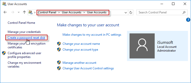 Create a password reset disk link