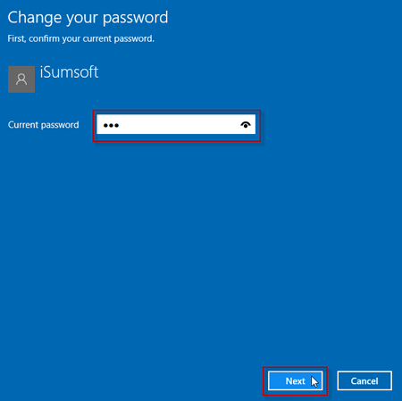 Type your current password