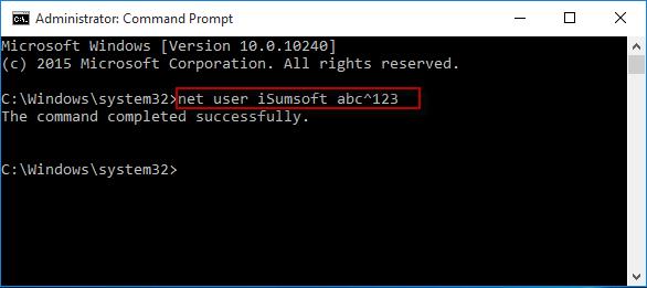 Execute net user command
