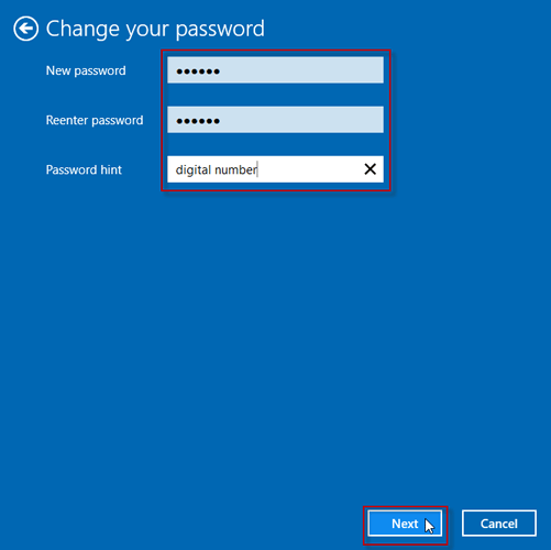 Type your new password and password hint