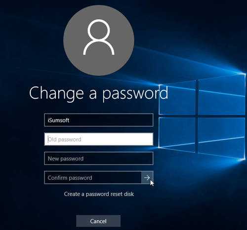 Type your old password and new password