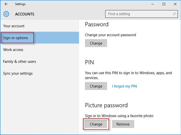 Change picture password
