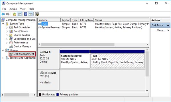 Click on Disk Management