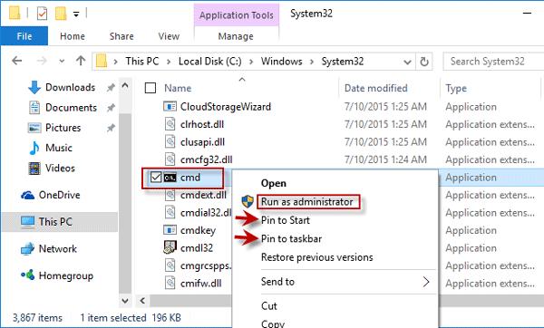 Open cmd application