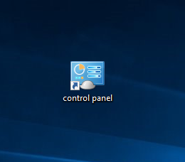 Newly created Control Panel shortcut
