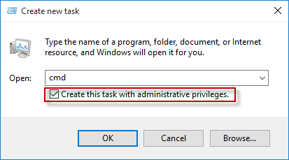 Create cmd task with administrator