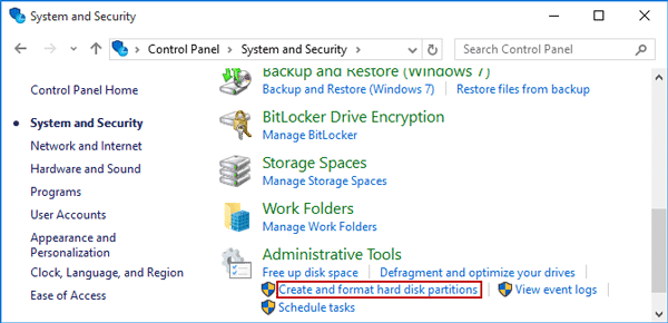 Click on Create and Format hard disk partitions