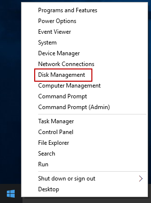 Open Power User Menu and select Disk Management