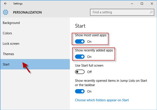 Personalize start menu