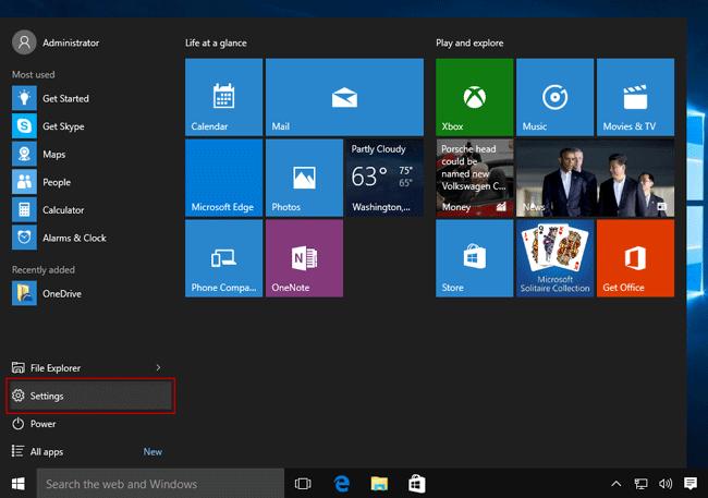 Open PC settings