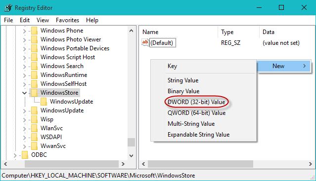 Create RemoveWindowsStore value