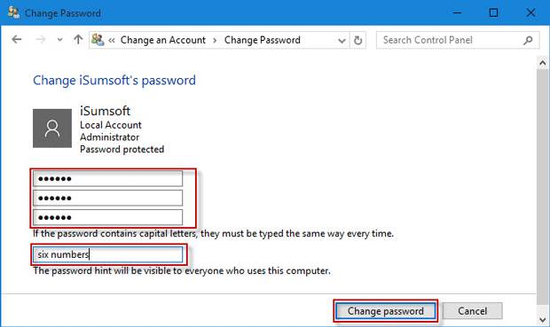 Change password hint
