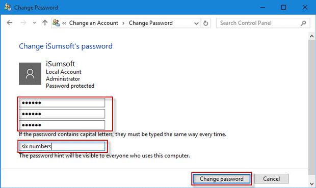 Change password hint