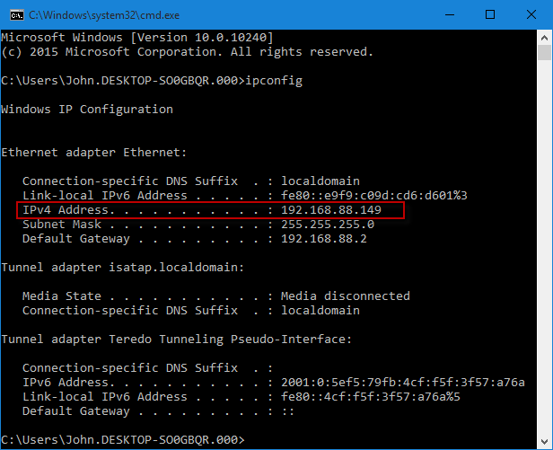 Find IP address on Windows 10 PC