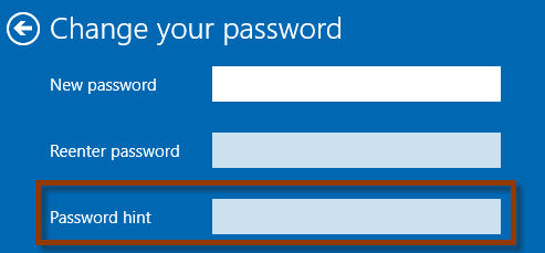 create and change password hint
