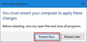 Click Restart Now