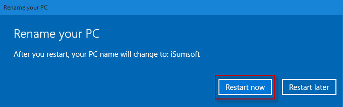 how to change pc name in windows 10