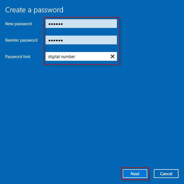 Set a password hint