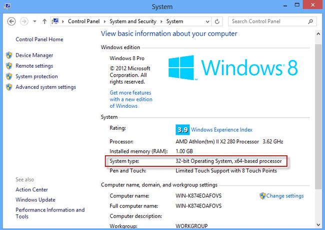 Check 32-bit Windows 8