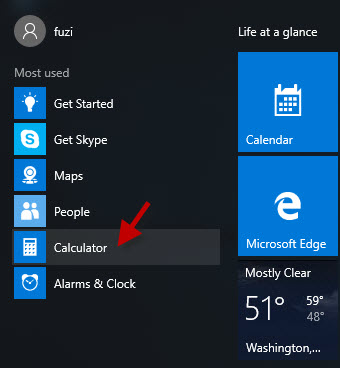 Find Calculator in Start menu
