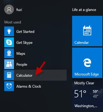 Find Calculator in Start menu