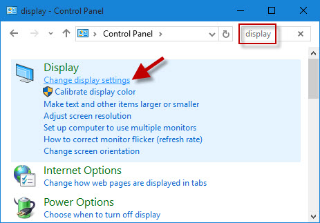 Click Change display settings