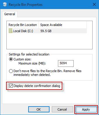 Display delete confirmation dialog