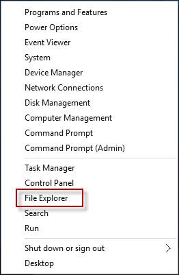 click File Explorer in WinX menu