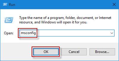Escriba msconfig y haga clic en Aceptar