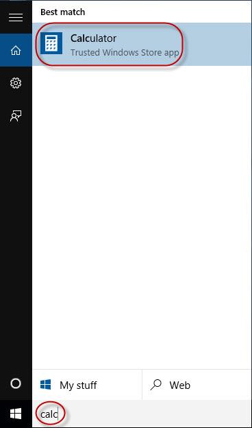 searcg calculator in Cortana
