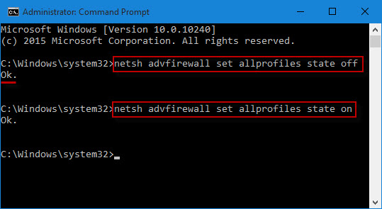 Turn off Windows Firewall with command