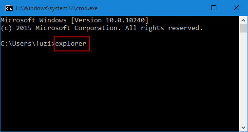 Type explorer in Command Prompt window