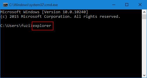 Type explorer in Command Prompt window
