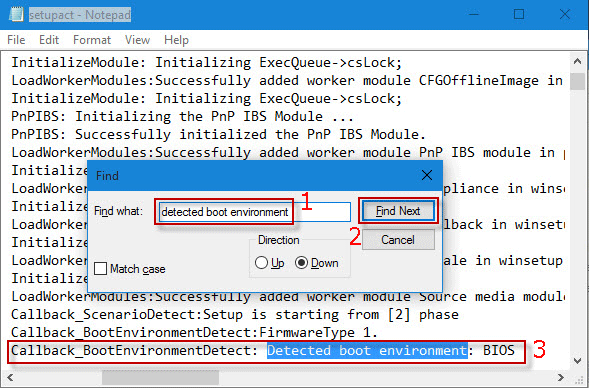 find detected boot environment