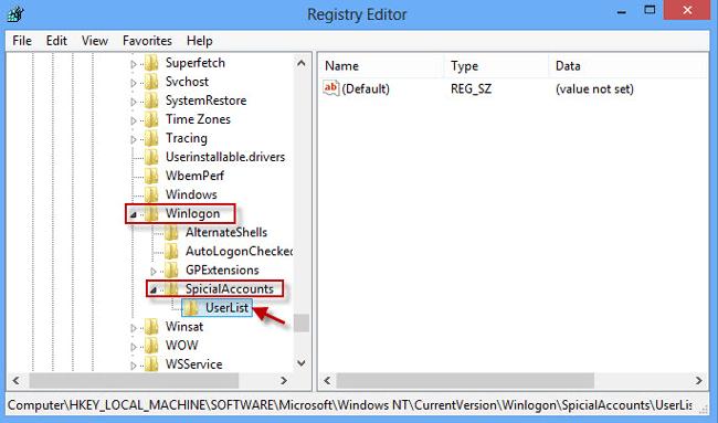 Create UserList sub key