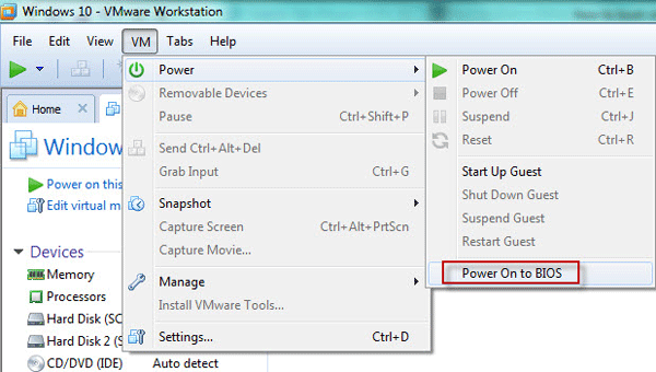 Power on virtual machine to BIOS