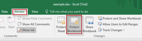 Click Protect Workbook